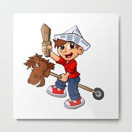 Boy riding a stick horse. Metal Print