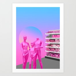 Family in Walmart Art Print