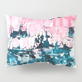Inside out | Navy blue pastel pink abstract original acrylic painting Pillow Sham