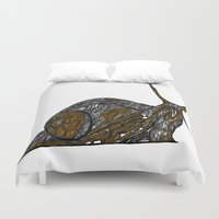 greg guillemin Duvet Covers featuring Snail Abstract by Greg Phillips by SquirrelSix