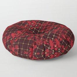 Retro .Vintage . Black red openwork ornament . Floor Pillow