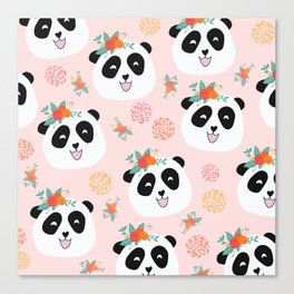 Panda bear with flowers seamless pattern Canvas Print