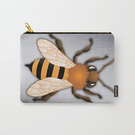 Bee over Brushed Steel Background Carry-All Pouch