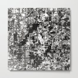 psychedelic geometric square pattern abstract background in black and white Metal Print