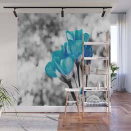 Turquoise FloWERS Pop of Color Wall Mural