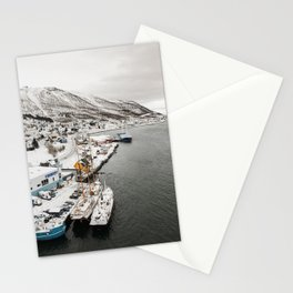 Harbor In Norway Snow Photo | Winter In Norway Boats And Mountains Art Print | Travel Photography Stationery Cards