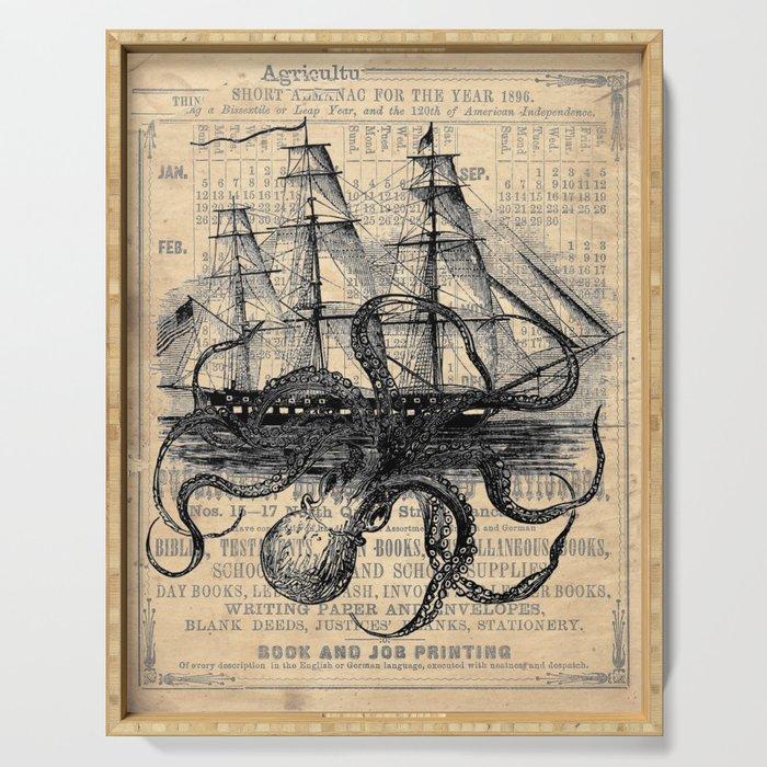 Octopus Kraken attacking Ship Antique Almanac Paper Serving Tray