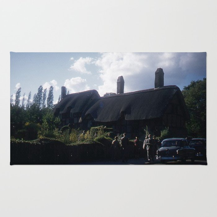 England Art Print * Vintage Photo * 1950's * Ann Hatheway * Cottage * Cars * Kodachrome Rug