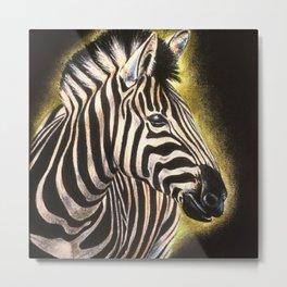 Zebradrawing, 9x12in, pastel pencil Metal Print