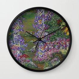 Grandma's Garden, Floral Landscape, impressionism art Wall Clock