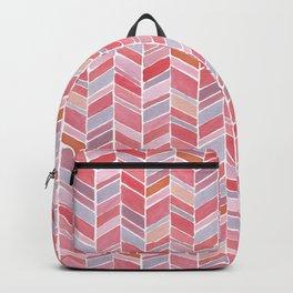 Pink Chevron Watercolour Pattern Backpack