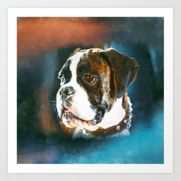 Boxer Dog Portrait  Watercolor Digital Art Art Print