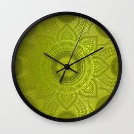 """Green Lemon Pattern Mandala Polka Dots"" Wall Clock"