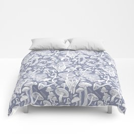 Delicious Autumn botanical poison IV // blue grey background Comforters