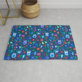 Little Owls and Flowers on deep teal blue Rug