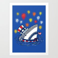 The Patriotic Shark Art Print