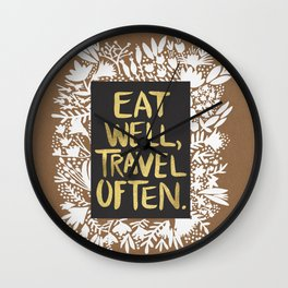 Eat Well, Travel Often (on Kraft) Wall Clock