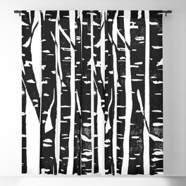 Woodcut Birches Black Blackout Curtain