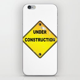 Yellow Under Construction Sign iPhone Skin