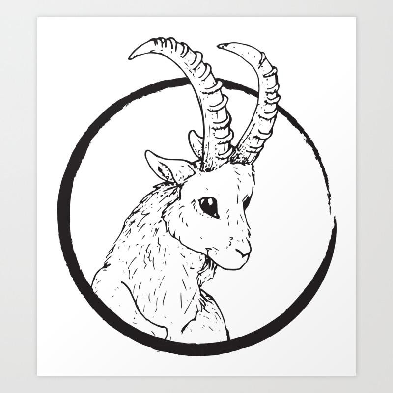 Pen & Ink Goat Tattoo Art Print by cloudwalkerdesigns   Society6