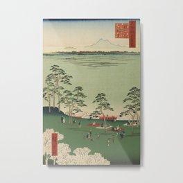 Spring Trees Mountain Ukiyo-e Japanese Art Metal Print