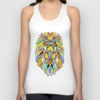 metallic Tank Tops featuring Metallic Lion by J&C Creations