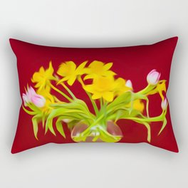 bouquet of flowers in a vase Rectangular Pillow
