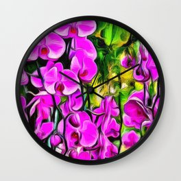 Purple Painterly Orchid Vines Wall Clock