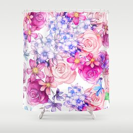 Pink trendy modern watercolor floral pattern Shower Curtain