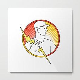 Electrician Holding Lightning Bolt Circle Monoline Metal Print