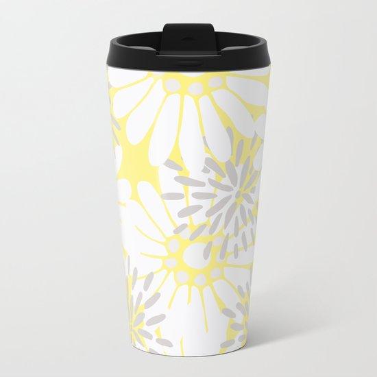 Summer Flowers Yellow Metal Travel Mug