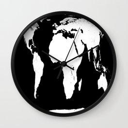 World Map Black & White Wall Clock