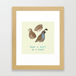 Quail of a Time Framed Art Print