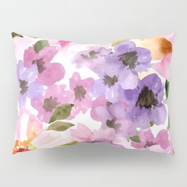 Pink Purple Watercolor Flowers Pillow Sham