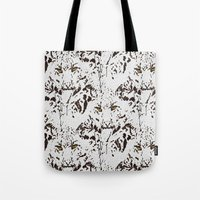 snow leopard Tote Bags featuring Snow Leopard by lillianhibiscus