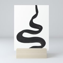 Black And White Minimalist Mid Century Abstract Ink Art Genie Aladdin Smoke Jin Lamp Minimal Smoke Mini Art Print
