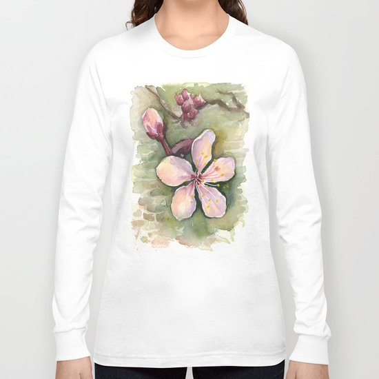 Cherry Blossom Watercolor Painting   Spring Flowers Long Sleeve T-shirt