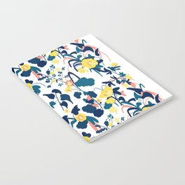Buttercup yellow, salmon pink, and navy blue flowers on white background pattern Notebook
