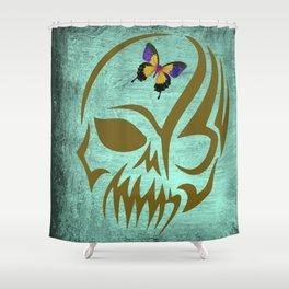 Golden Tribal Skull, Exotic Butterfly, Skull Art, Horror Decor, Shower Curtain