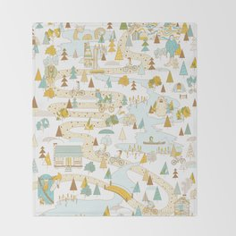 Over the River and Through the Woods Throw Blanket