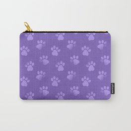Cat Dog Paw Print Pattern in Purple Carry-All Pouch