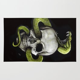 Stained Glass Medieval Skull Rug