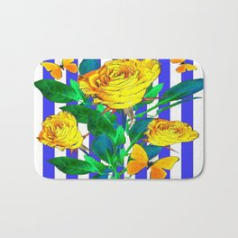YELLOW SPRING ROSES & BUTTERFLIES WITH LILAC STRIPES Bath Mat