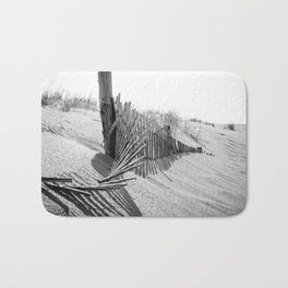 High Key Dunes and Fence Black and White Coastal Landscape Photograph Bath Mat