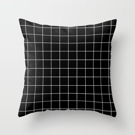 Black White Grid Throw Pillow