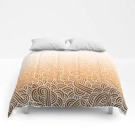 Ombre orange and white swirls doodles Comforters