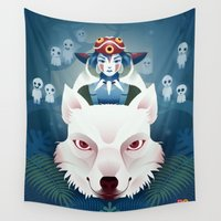 princess mononoke Wall Tapestries featuring Princess Mononoke by Roberta Oriano