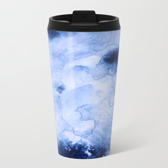 Marbled Water Blue Metal Travel Mug