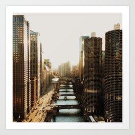 Sunset on the Chicago River Art Print