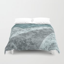 Combined abstract pattern .Green marble . Duvet Cover